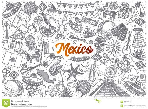 doodle 4 mexico mexico doodle set with lettering stock vector