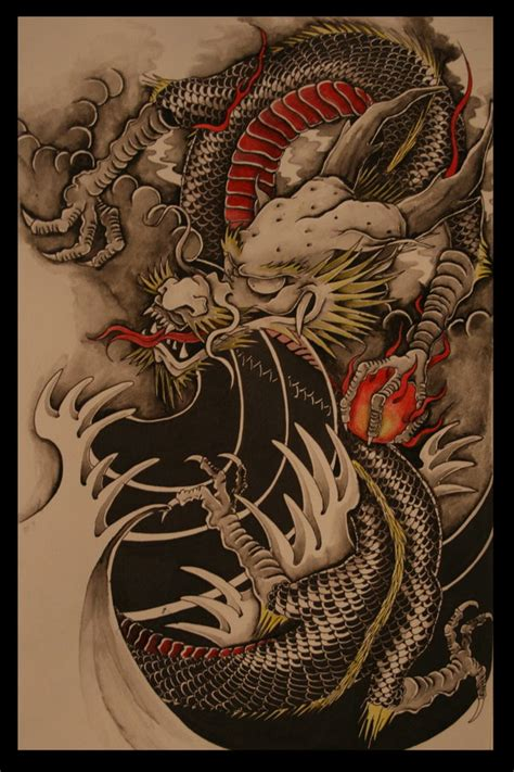 traditional japanese dragon tattoo colour version by brokenpuppet86 on deviantart