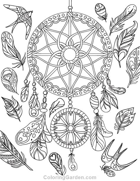 coloring pages for adults dream catchers dreamcatcher adult coloring page