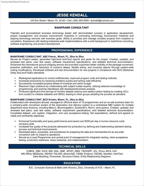 Consulting Resume by Consulting Resume Template Free Sles Exles
