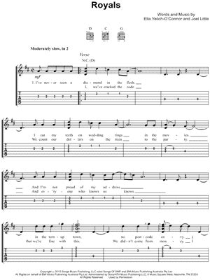 printable lyrics to royals royals chords
