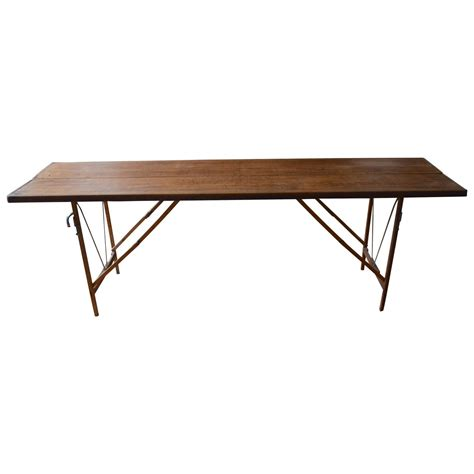madison park afton industrial desk folding wooden table used by wallpaper at 1stdibs