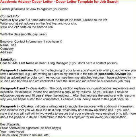 cover letter academic position sle cover letter for academic advisor position 28 images