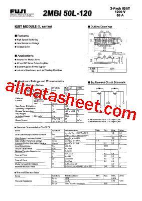 Igbt 2mbi 50l 120 Fuji Electric 2mbi50l 120 datasheet pdf fuji electric