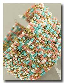 multi strand multi colored seed bead bracelet