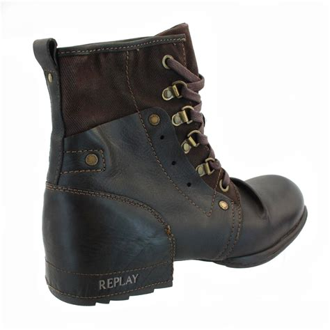 replay akart leather canvas lace up mid boots br ebay
