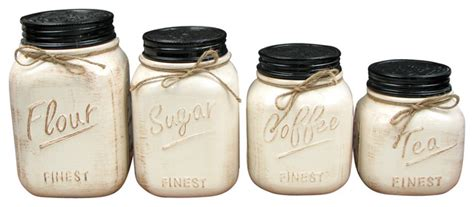 Ceramic canisters set of 4 white rustic kitchen canisters and jars by cookie jars galore