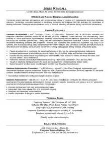 Database Administrator Resume by Exle Database Administrator Resume Sle