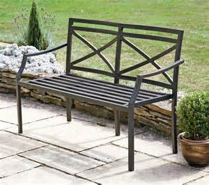 Tall Artificial Flowers - rustic brown 4 2 seater metal garden bench with cream