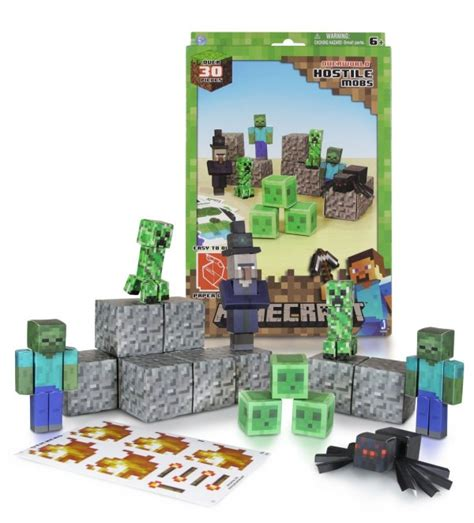 Minecraft Papercraft Overworld Set - minecraft papercraft hostile mobs set only 5 40 reg