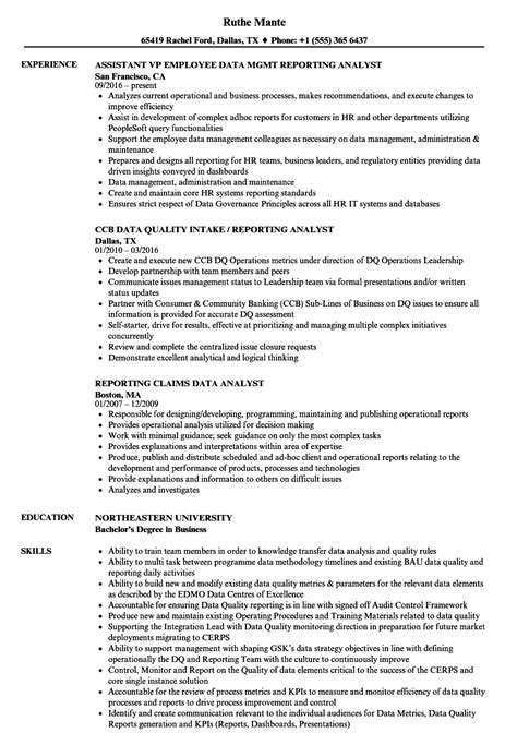 reporting analyst sle resume reporting analyst resume sle allignwings