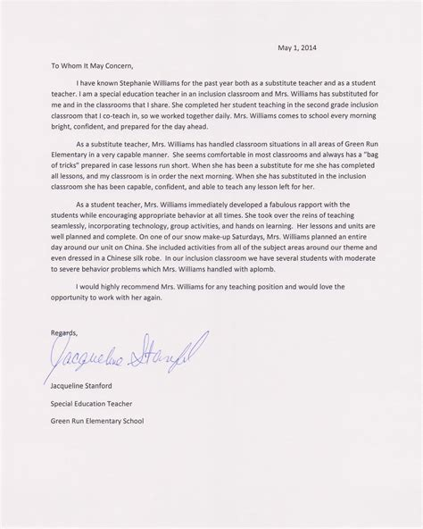 Recommendation Letter For Student In Education Student Teaching Williamsteaching Portfolio