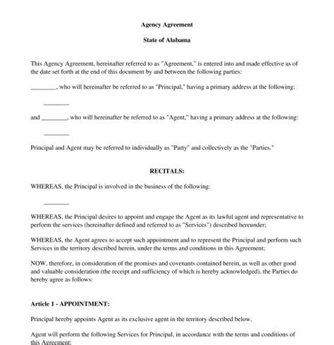 Agency Agreement Free Sle Template Word And Pdf Agency Agreement Template