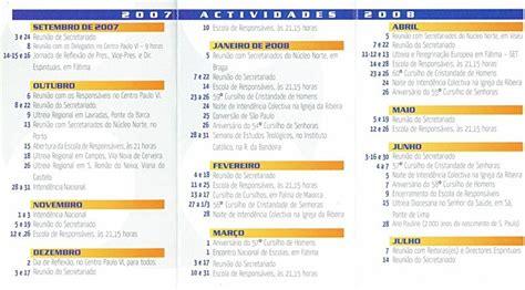 O M Calendario Calend 225 De Actividades M C C Em Carre 231 O