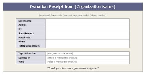 tax receipts for donations template donation receipt