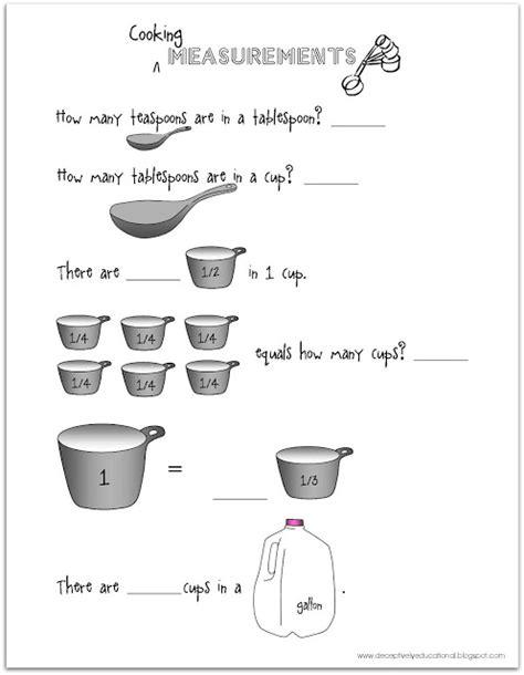 Cooking Measurements Worksheet Answers Relentlessly Deceptively Educational Teaspoons