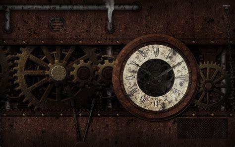 desktop themes with clock free download steunk clock wallpaper digital art wallpapers 25639