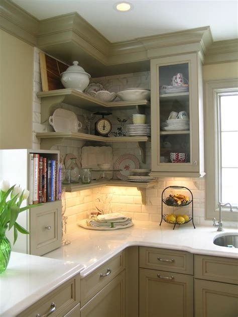 open cabinets kitchen ideas five inc countertops 5 ways to make practical use of a corner kitchen cabinet