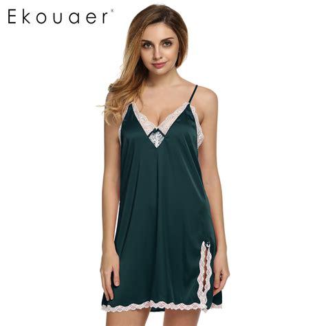 Dress Sleepwear Satin ekouaer sleep dress satin sleepwear silk nightgown