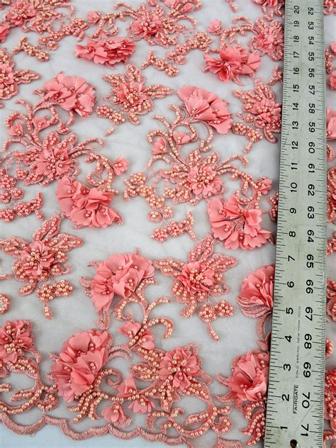 embroidered fabrics coral floral beaded embroidered lace mesh fabric
