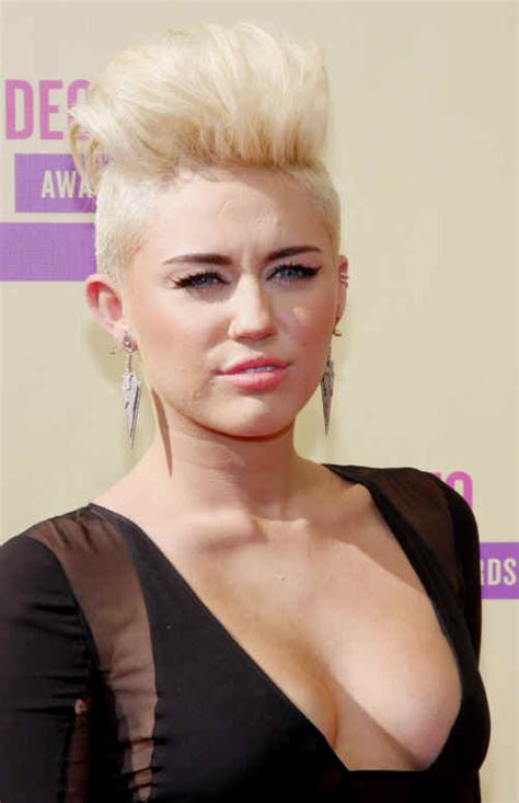 Miley Cyrus Hairstyle by Hairstyles Miley Cyrus Platinum Mohawk Hairstyle