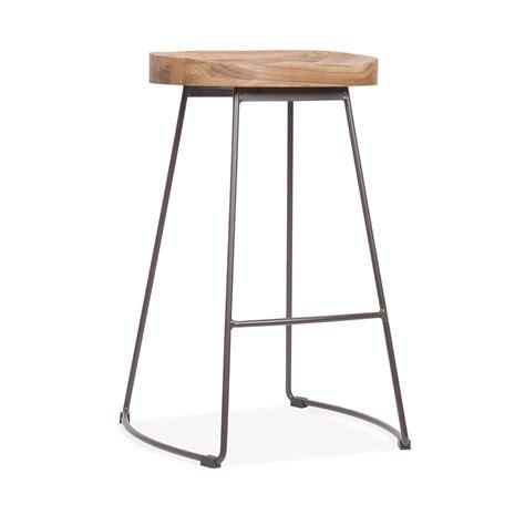 wood and metal stool uk metal bar stool with wood seat rustic 65cm cult uk