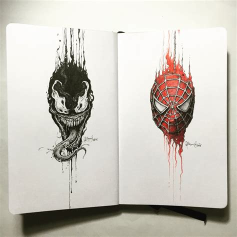 sketchbook x the portraits venom x spider by kerbyrosanes