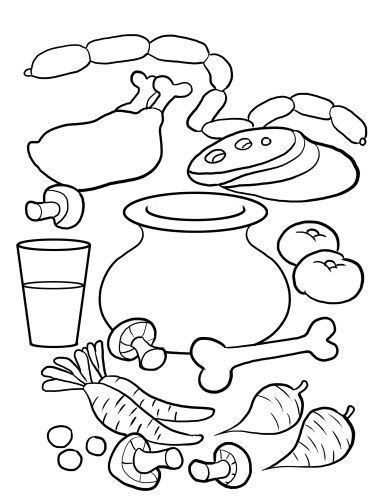 stone soup coloring pages foods pinterest stone soup