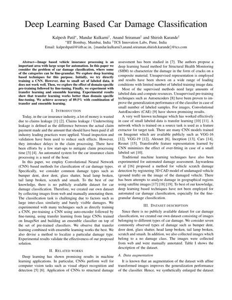(PDF) Deep Learning Based Car Damage Classification