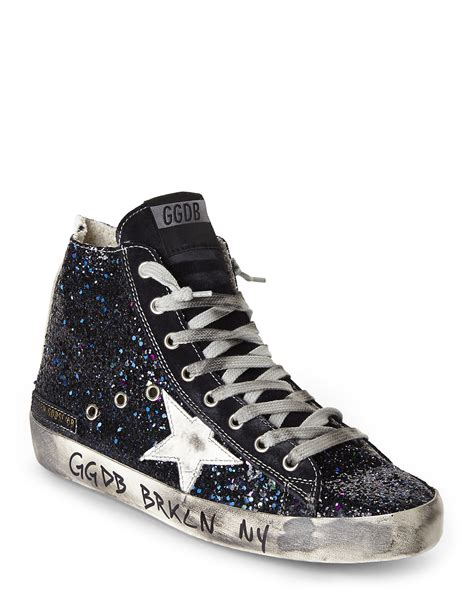 golden goose sneakers lyst golden goose deluxe brand francy glitter sneakers