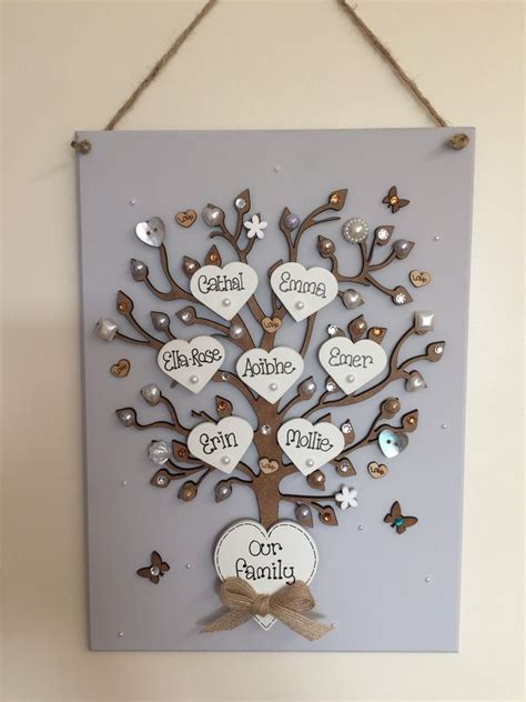 Handmade Plaques - personalised handmade family tree wall plaque mothers day