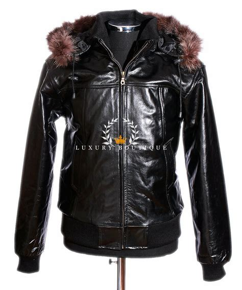 cowhide jackets soviet black mens hooded fur winter puffer bomber real