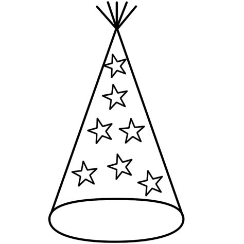 coloring page party hat new year party images cliparts co