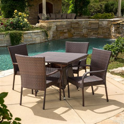 best selling home decor dominica outdoor square wicker best selling home decor furniture alec wicker 5 square patio dining set patio dining