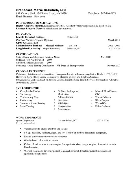 entry level lpn resume sle nursing