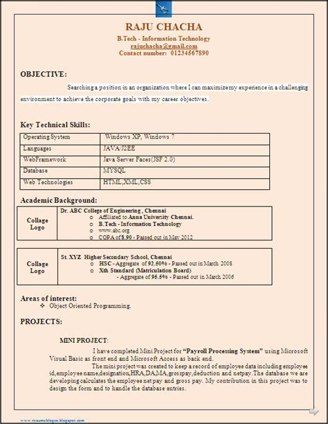 Resume Sles For B Tech Freshers Pdf resume co b tech it freshers resume format in word document