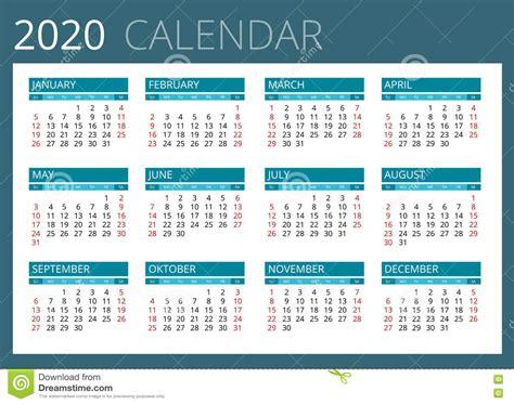 calendar   week starts sunday simple vector design stock vector illustration