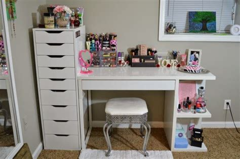 Makeup Storage Desk by My Vanity And Makeup Storage Ikea Alex 9 And Micke Desk