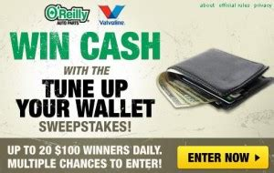 O Reilly Sweepstakes - o reilly tune up your wallet sweepstakes up to 20 100 winners daily frugal fritzie