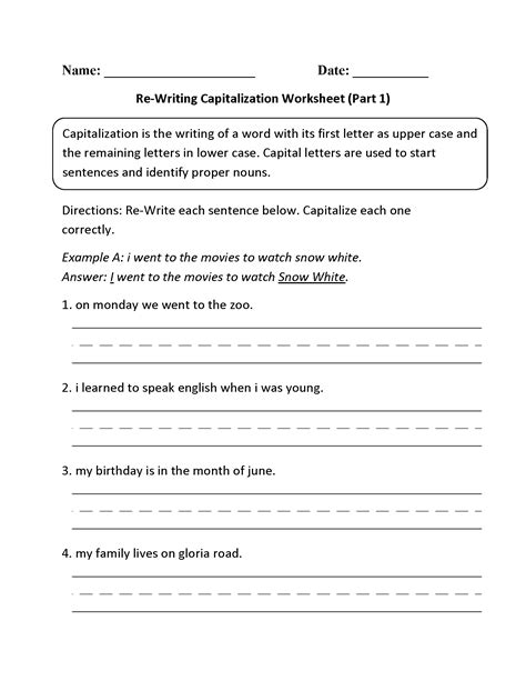 printable worksheets on capitalization and punctuation free printable language arts worksheets for 1st grade