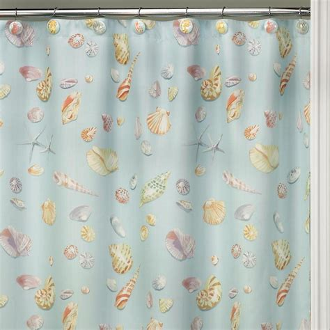 seashell shower curtains ocean sea shell starfish bathroom bath shower curtain blue