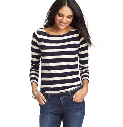striped boatneck tee striped cotton long sleeve boatneck tee loft