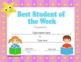 Student Of The Week Certificate Template Free by Education Certificates Best Student Of The Week