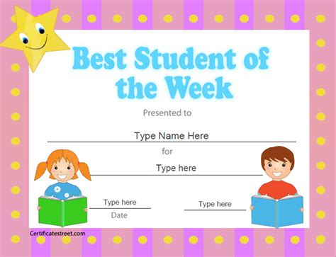 of the week certificate template education certificates best student of the week