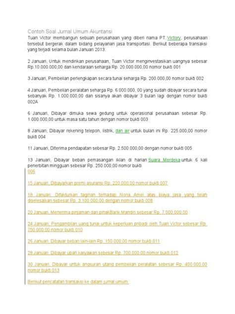 contoh latihan membuat jurnal umum akuntansi dengan benar contoh soal jurnal umum 30 transaksi contoh aoi