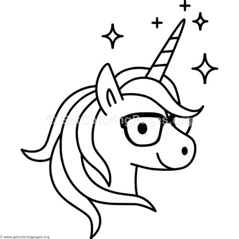 coloring pages unicorn head unicorn with glasses coloring pages getcoloringpages org