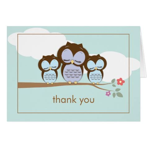 owl thank you card template owl baby boys thank you note card zazzle