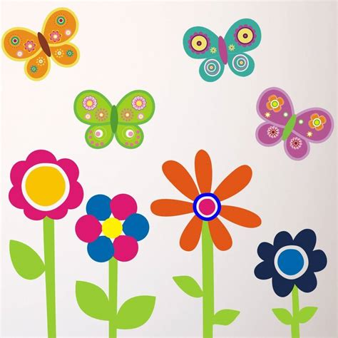 flowers and butterflies wall stickers flowers and butterflies wall stickers by mirrorin notonthehighstreet