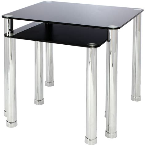Glass Side Tables For Living Room by Nest Of 2 Glass Chrome Tables Home Lounge Living Room Set