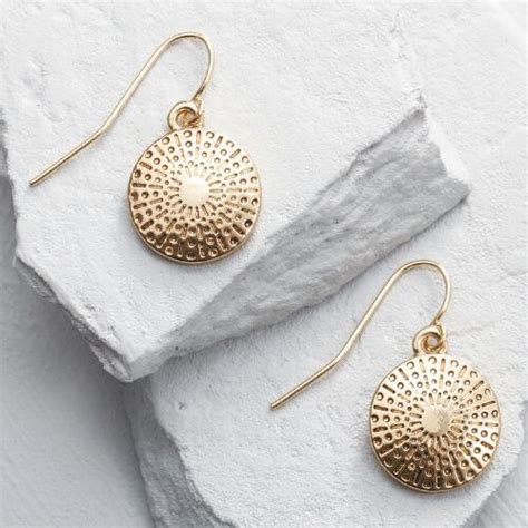 gold sand dollar drop earrings world market